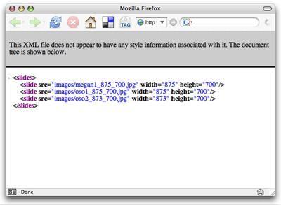 Slides.php server script output